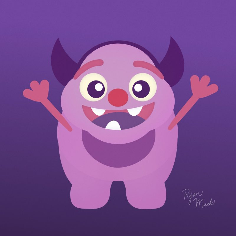 Cute Pink Monster with Purple Horns and Outstretched Arms to Give a Big Hug