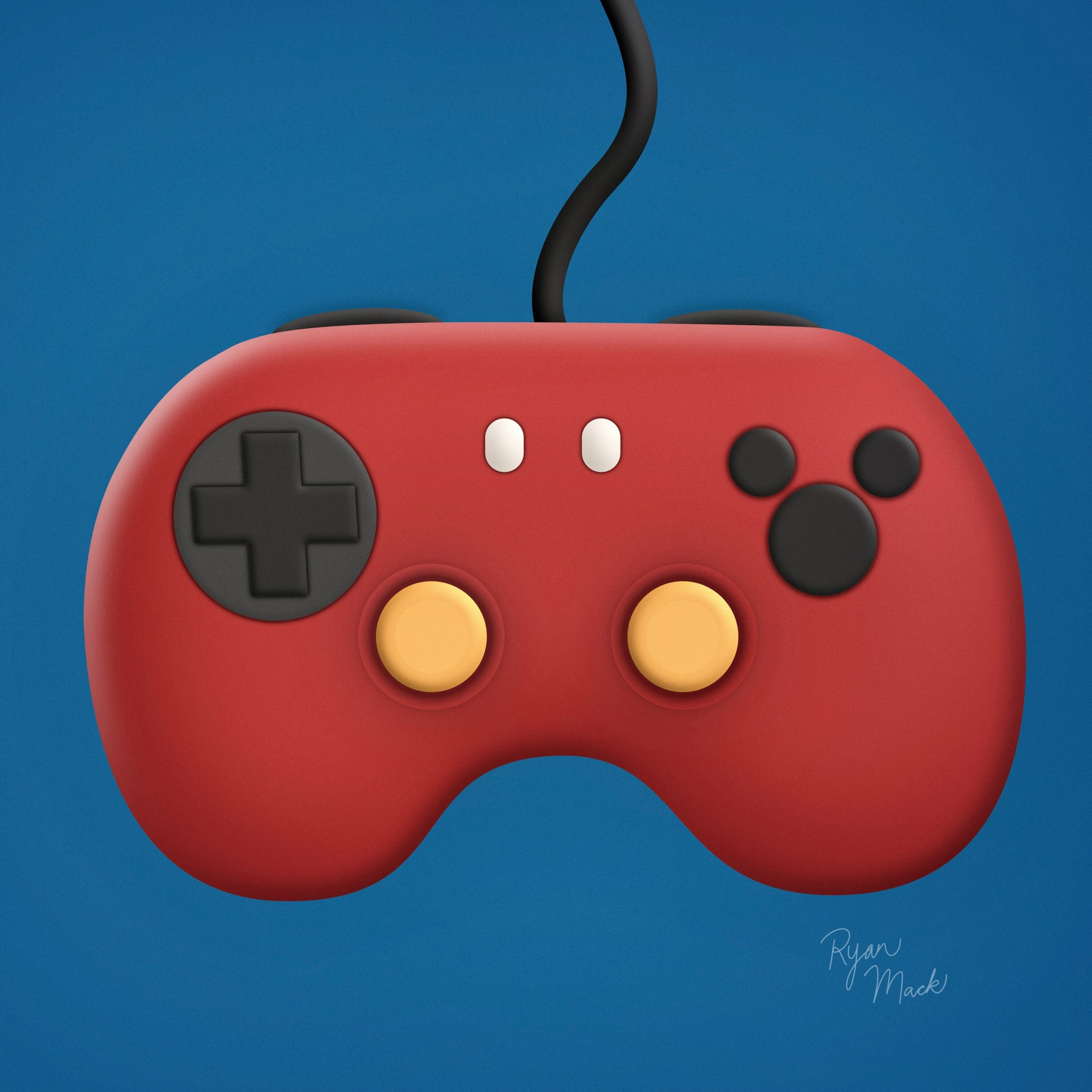Red Video Game Controller Shaped like Mickey's Shorts with Mickey Head Buttons