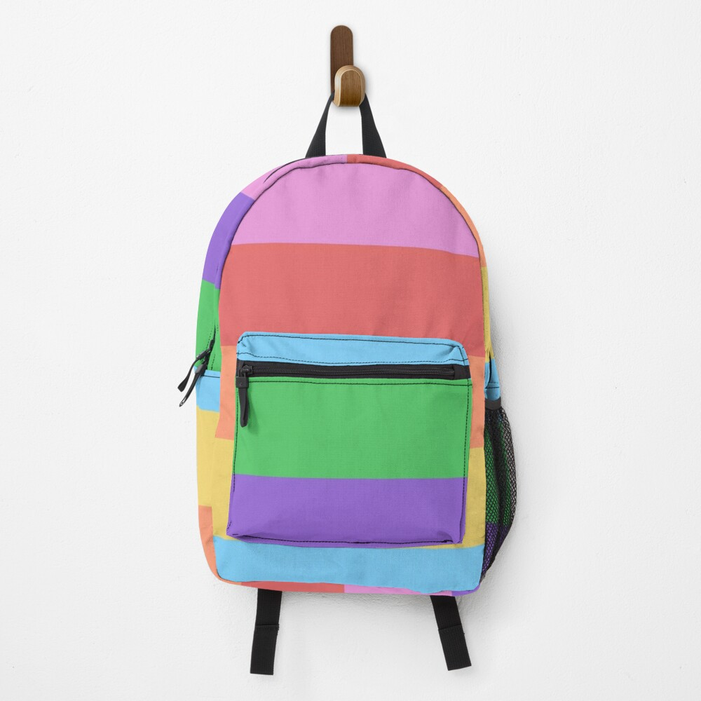 Colorful Rainbow Block Patterned Backpack