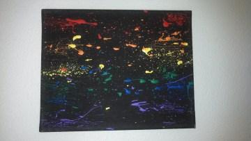8x10 Rainbow Splatter on black ($5)