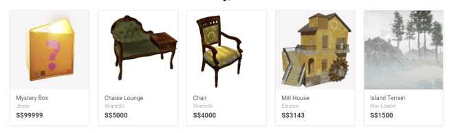 Most Expensive Items in the Sansar Store 17 Sept 2017