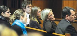 The Vantrease Family at the criminal trial. Andraya is the second from left in the front row.