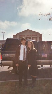 Ryan and Natalie Liberty before riding as the class selection in the Homecoming parade.