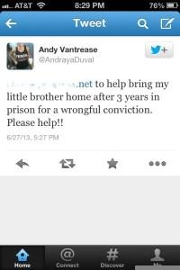 Austin Vantrease sister's Tweet.