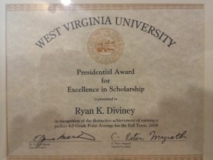 Ryan makes the President's List, achieving a perfect 40. GPA.