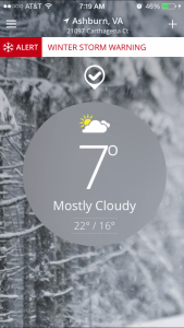 Today's weather conditions here in Northern Virginia.