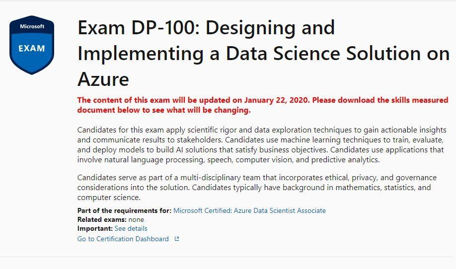 DP 100 updated - Microsoft's data science certification exam has been updated