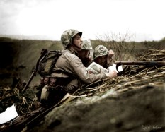 Observer Locates a Machine Gun Nest on a Map, Iwo Jima, February 1945