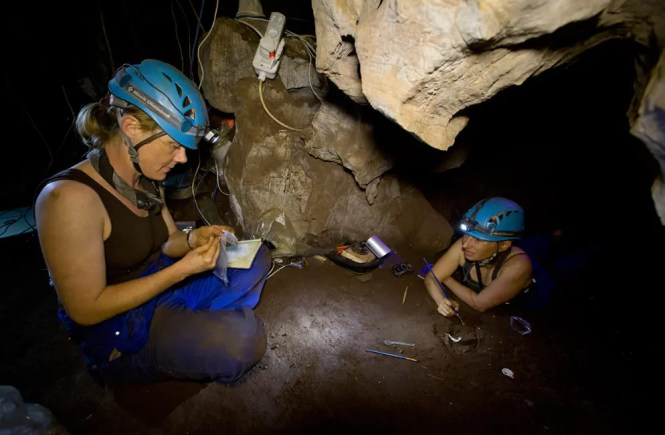 """""""Underground astronauts"""" Marina Elliott (right) and Becca Peixotto (left) work inside the cave where fossils of H. naledi, a new species of human relative, were discovered. The find was announced by the University of the Witwatersrand, the National Geographic Society and the South African National Research Foundation and published in the journal eLife. Photograph by Garrreth Bird."""