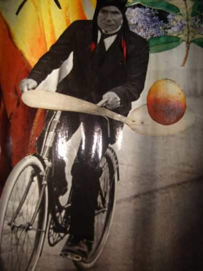 APACHE, SUR UN VELO, ALLANT AU MONDE DES OEUFS (DETAIL): Collaged lamp box with hollowed egg frame and curtains, $700