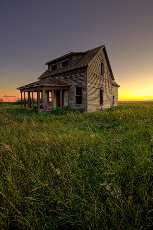 Saskatchewan abandoned house sunset