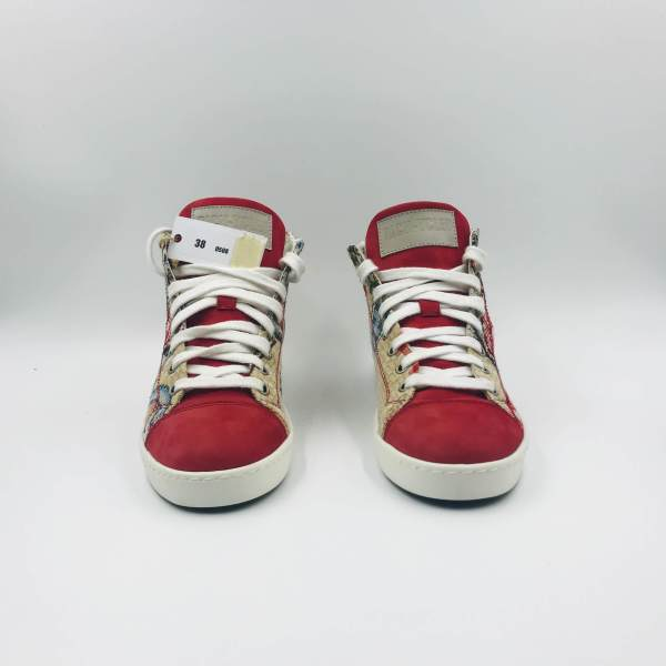 Gobelin with Crimson red suede RYC & RICH-YCLED Handmade Shoes From Italy