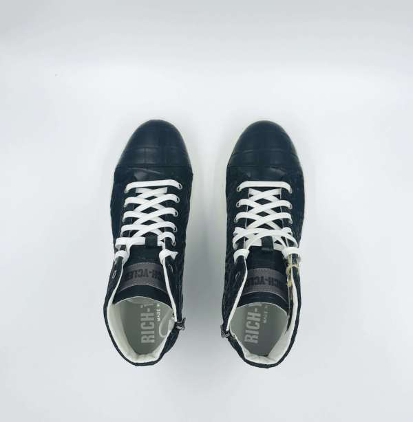 Obsidian black Velvet with coco leather RYC & RICH-YCLED Handmade Shoes From Italy