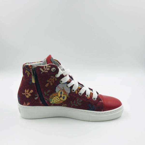 Leaves and Birds Gobelin with Red leather RYC & RICH-YCLED Handmade Shoes From Italy