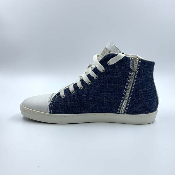 Denim blue Jeans with Daisy white leather RYC & RICH-YCLED Handmade Shoes From Italy €179