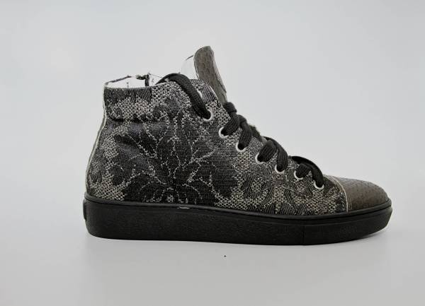 Multi Grey gobelin with moss green snake leather RYC & RICH-YCLED Handmade Shoes From Italy