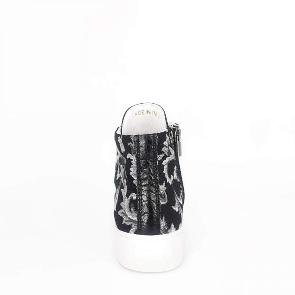 black & white damask with Black coco leather RYC & RICH-YCLED Handmade Shoes From Italy