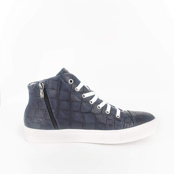 Midnight blue coco leather RYC & RICH-YCLED Handmade Shoes From Italy