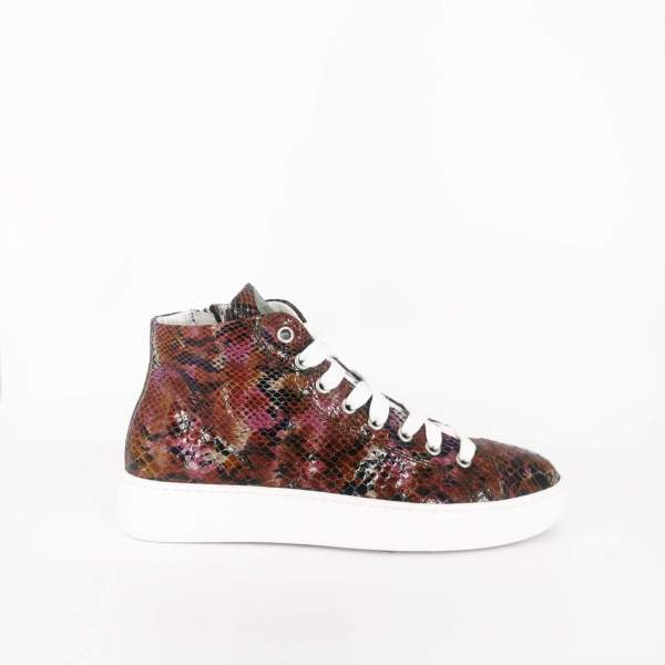 Multiple red fuchsia snake pattern shiny leather RYC & RICH-YCLED Handmade Shoes From Italy