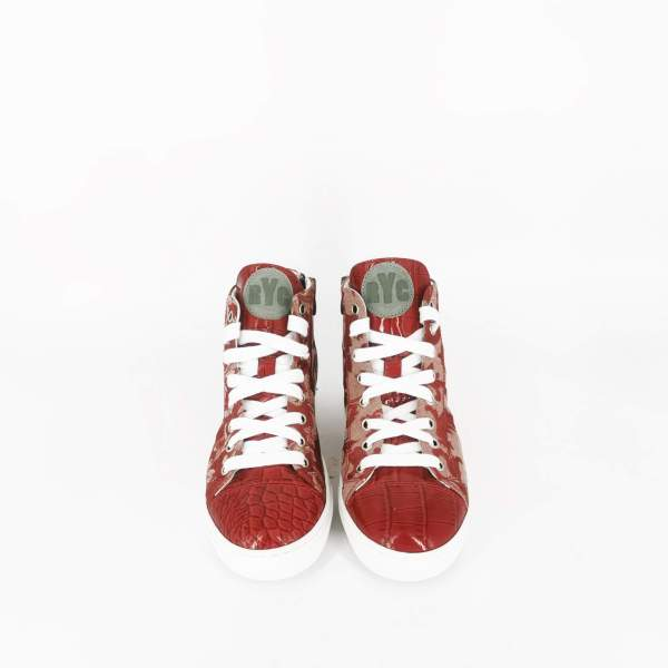 red & white damask fabric with Red coco leather RYC & RICH-YCLED Handmade Shoes From Italy
