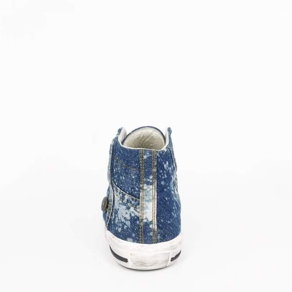 dirty blue monochrome denim RYC & RICH-YCLED Handmade Shoes From Italy
