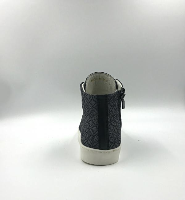 pewter grey gobelin fabric with crow black leather RYC & RICH-YCLED Handmade Shoes From Italy