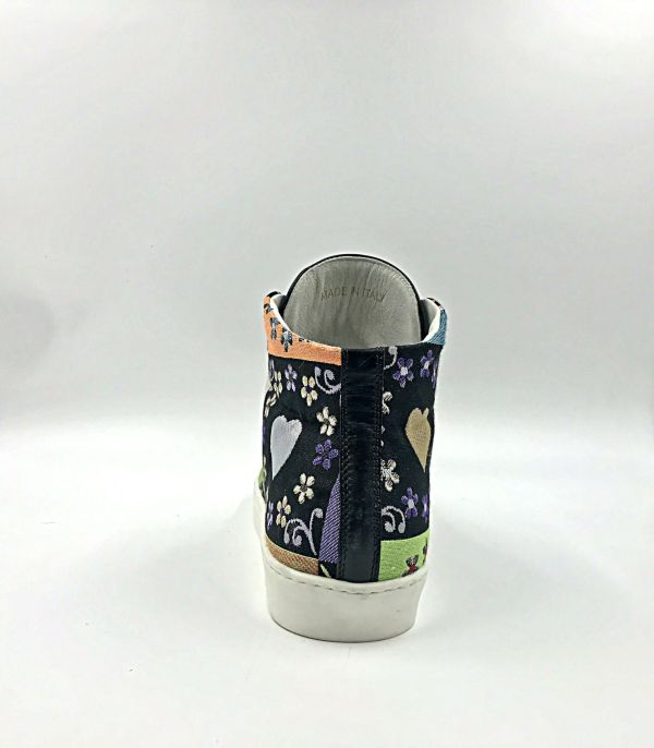multicolour love gobelin fabric with oil black leather RYC & RICH-YCLED Handmade Shoes From Italy