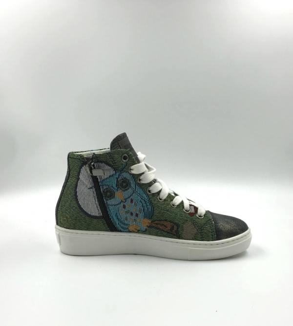 multicolor shimmery green gobelin fabric with leather RYC & RICH-YCLED Handmade Shoes From Italy €280