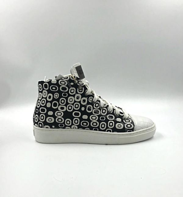 polka dot gobelin fabric with snow white coco leather RYC & RICH-YCLED Handmade Shoes From Italy
