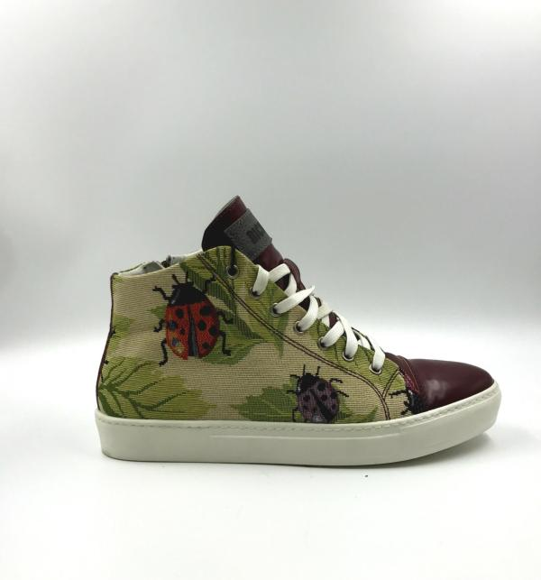 Multicolored gobelin fabric with berry red leather RYC & RICH-YCLED Handmade Shoes From Italy