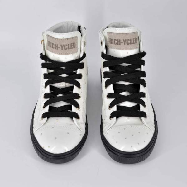 double White ostrich RYC & RICH-YCLED Handmade Shoes From Italy €380