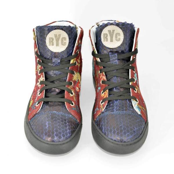 Red owl goblin & dark blue snake RYC & RICH-YCLED Handmade Shoes From Italy