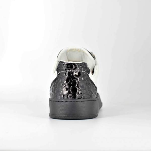 White Ostrich with shiny Black Coco leather RYC & RICH-YCLED Handmade Shoes From Italy €280