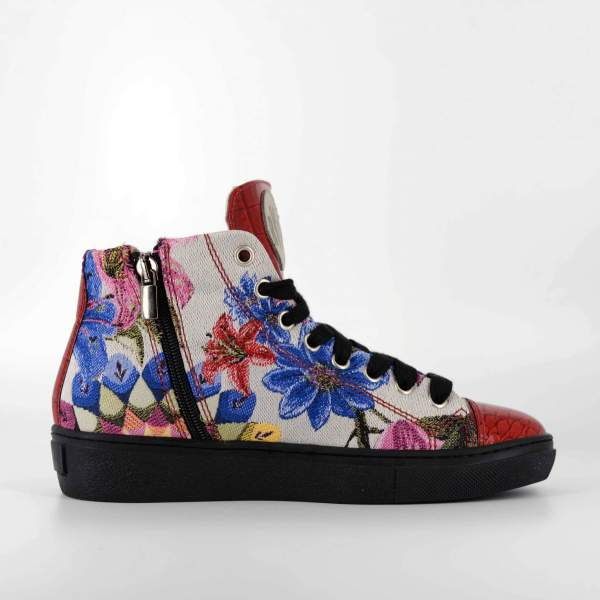 Manga flower Damascato & red coco leather RYC & RICH-YCLED Handmade Shoes From Italy