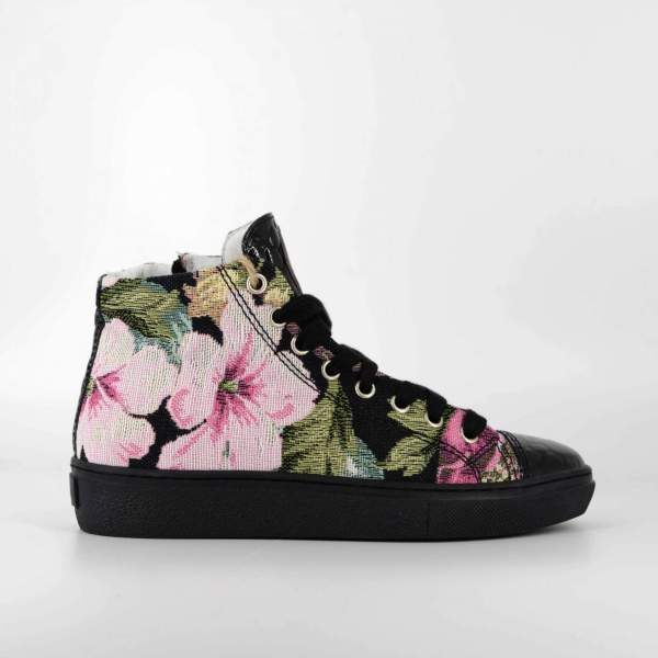 multiflower Gobelin with dark green coco leather RYC & RICH-YCLED Handmade Shoes From Italy