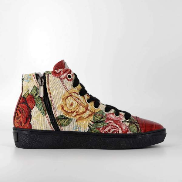 fantasy Rose gobelin & red coco leather RYC & RICH-YCLED Handmade Shoes From Italy