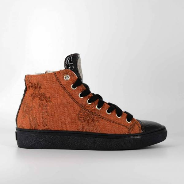 Comfy orange Damascato & shiny brown coco leather RYC & RICH-YCLED Handmade Shoes From Italy