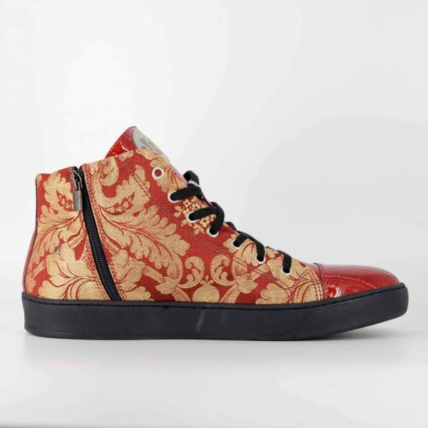 RED'N GOLD DECORED BAROCCATO WITH RED COCO LEATHER RYC & RICH-YCLED Handmade Shoes From Italy €290