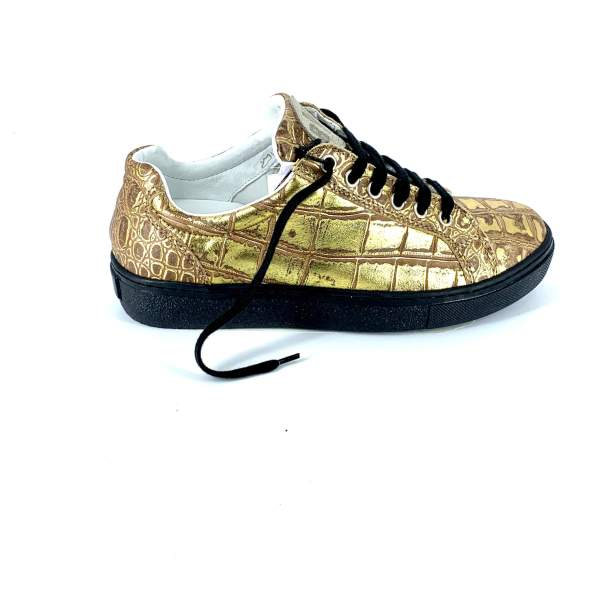 full Gold coco leather RYC & RICH-YCLED Handmade Shoes From Italy