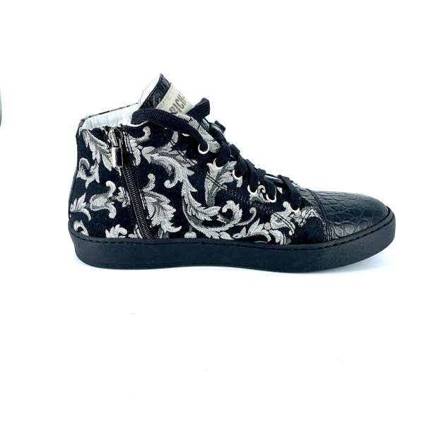 Damascato black'n grey with black coco leather RYC & RICH-YCLED Handmade Shoes From Italy €290