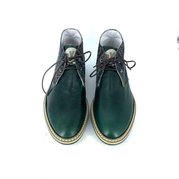 retro pattern goblin with green Hammered leather RYC & RICH-YCLED Handmade Shoes From Italy