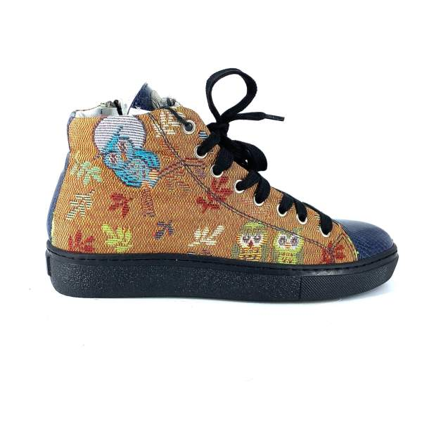 orange goblin owls fantasy with blue tex shiny leather RYC & RICH-YCLED Handmade Shoes From Italy