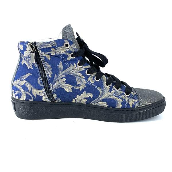 Blue'n gold damascato with grey coco leather RYC & RICH-YCLED Handmade Shoes From Italy €295