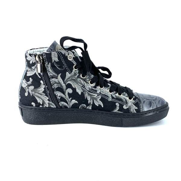 black'n grey decor damascto with grey coco leather RYC & RICH-YCLED Handmade Shoes From Italy €295