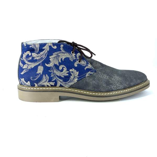 Blue'n Gold damascato with grey maltino leather RYC & RICH-YCLED Handmade Shoes From Italy €250