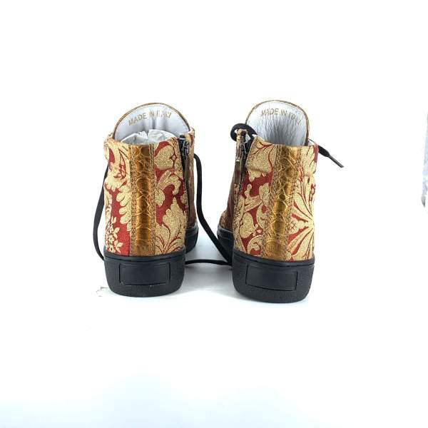 RED N' GOLD BAROCCATO WITH GOLD COCO LEATHER RYC & RICH-YCLED Handmade Shoes From Italy €275