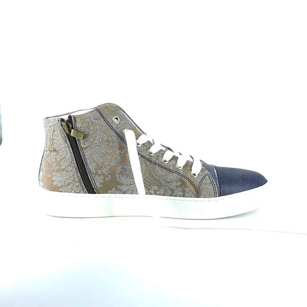 Off Beige n' grey baroccato with patten leather RYC & RICH-YCLED Handmade Shoes From Italy €275