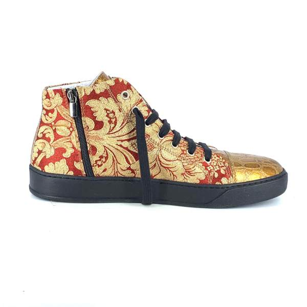 Red n' gold baroccato with gold coco leather RYC & RICH-YCLED Handmade Shoes From Italy €285