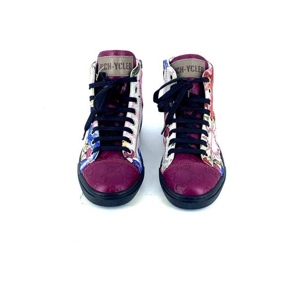 FANTASY FLOWER DAMASCATO WITH Branded deep pink leather RYC & RICH-YCLED Handmade Shoes From Italy €290