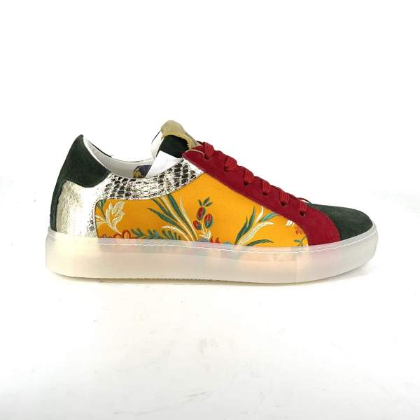 double suede colors with gold Details and floral damascato RYC & RICH-YCLED Handmade Shoes From Italy €179